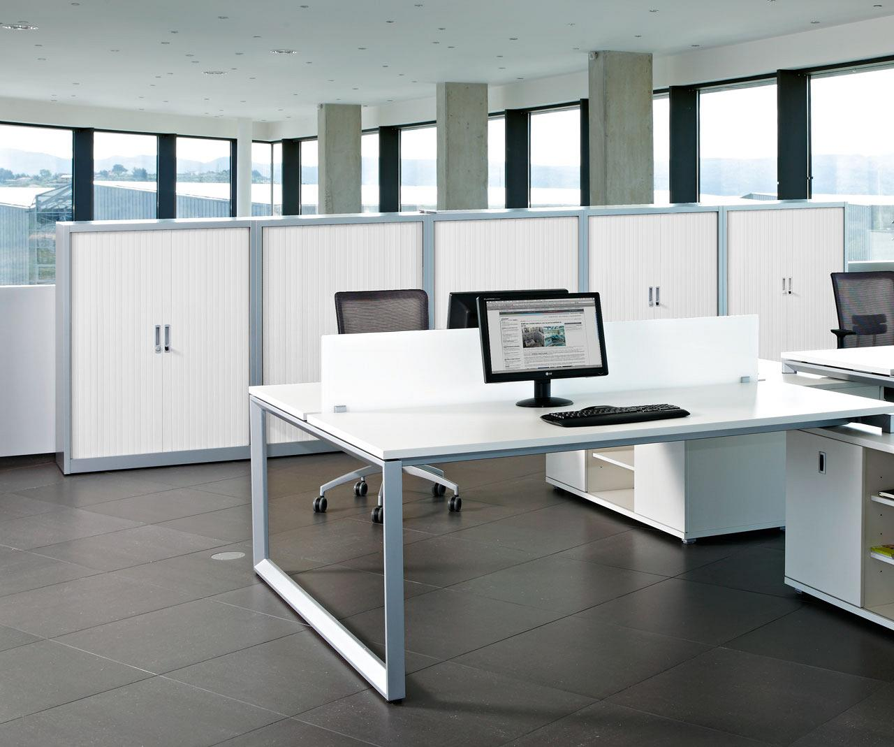 Metal storage with hinges doors shelves or drawers for Muebles para oficina