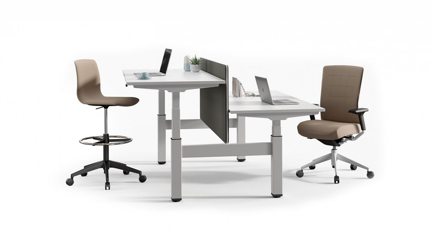 white desk shop sit furniture office scene electric electra height desks stand adjustable
